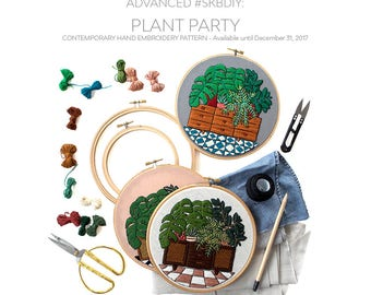 Advanced Hand-Embroidery Pattern By Sarah K. Benning: Plant Party- Digital Download, PDF pattern, #skbdiy - Available through December 31st!