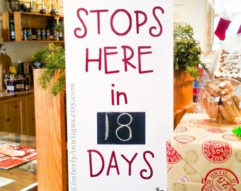 Christmas countdown, Santa sign, Countdown to Santa, Santa stops here, Countdown Christmas, Xmas Countdown, Days to Santa, Countdown Chalk