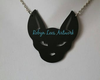 Large Black Laser Cut Cat Face Pendant Necklace on Silver, Bronze, Gold or Gunmetal Crossed Chain. Sphinx, Kitten