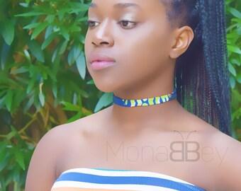 3 fabric chokers, ankara fabric chokers, african jewellery for women, bijoux afro, bijoux africains, cadeau de noel, cadeau pour femme