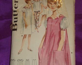 1960s 60s Vintage Sleeveless Smock Flared Short Sleeve Nightgown n Two Piece Pajamas COMPLETE Butterick Pattern 2486 Bust 34 Inch 87 Metric