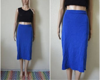 Blue wool midi skirt pencil skirt cobalt blue high waisted knitted fitted pin up French Vintage 90s Retro mod S Small UK 8 10