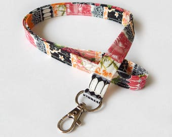 Floral Lanyard / Roses / Lace Keychain / French Floral / Damask / Key Lanyard / ID Badge Holder / Fabric Lanyard / Lanyards / Back to School