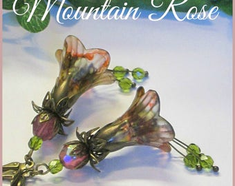 MOUNTAIN ROSE Lucite Trumpet Flower Earrings, Victorian Earrings, Hand Painted Earrings, Swarovski, Czech, Pink, Green, Handmade, Ravengirl