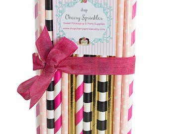 Kate Spade inspired party -Gold Straws *Hot Pink Pink & Gold Party, Hot Pink Straws, Gold Straws, Pink and Gold Baby Shower, Pink Wedding
