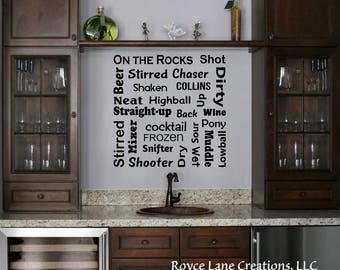 Bar Decal - Bar Terminology Word Art -Bar Lettering -Bar Wall Decor -Bar Wall Art -Bar Wall Decal - Bar Decor -Vinyl Bar Sign -Bar Wall Sign