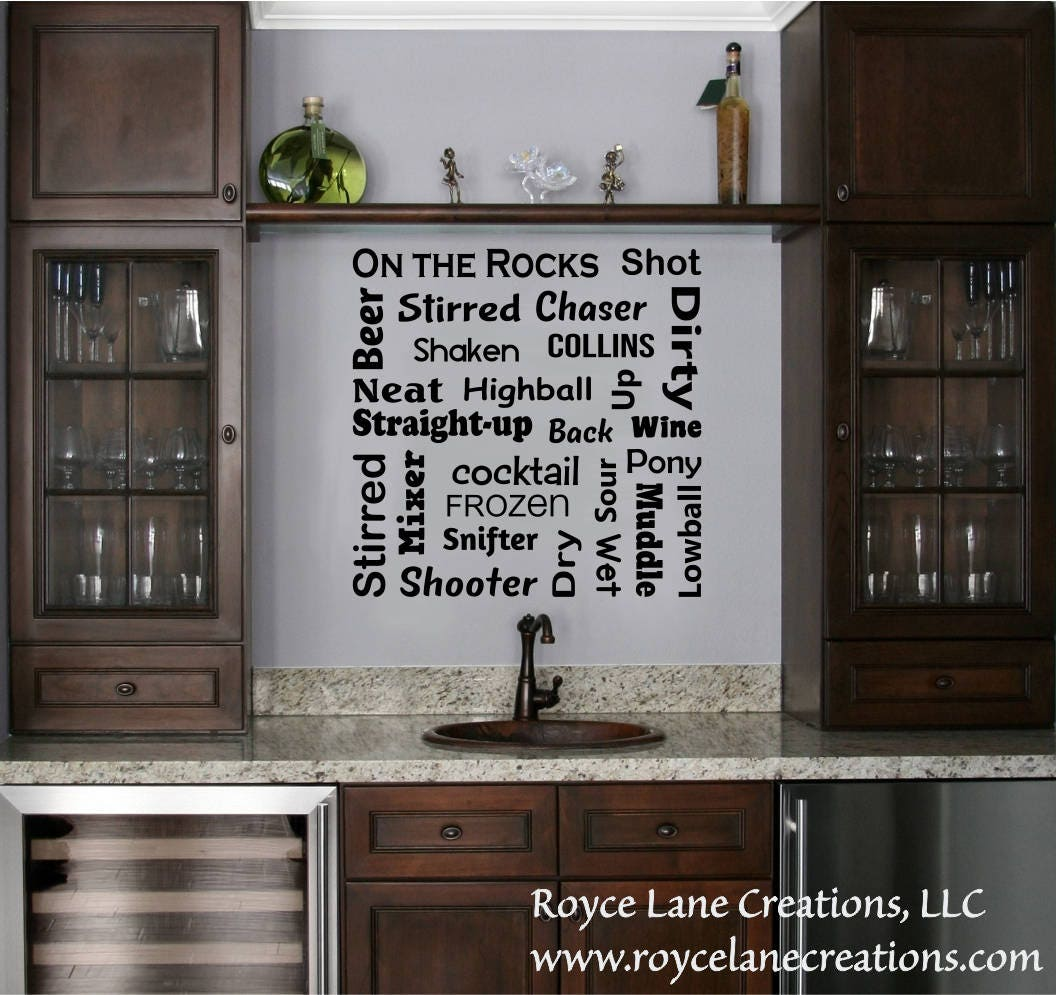 Bar Decal   Bar Terminology Word Art  Bar Lettering  Bar Wall Decor  Bar  Wall Art  Bar Wall Decal   Bar Decor  Vinyl Bar Sign  Bar Wall Sign