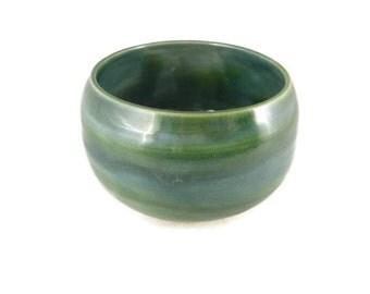 Green and blue bowl - rice bowl - large tea bowl - pottery bowl.