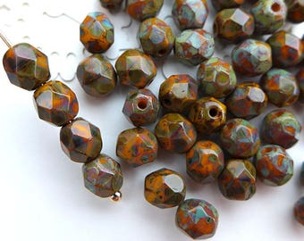 Czech Glass Beads Faceted 6mm - PICASSO OPAQUE RED - 50pcs