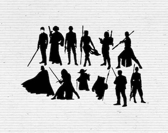 Star Wars Characters Silhouette and Elements,  SVG Cutting File, Printable, T-shirt Design, Scrapbooking Clipart