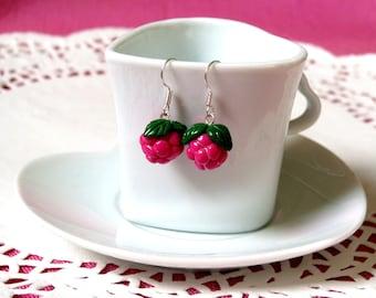 Small raspberry gourmet earrings