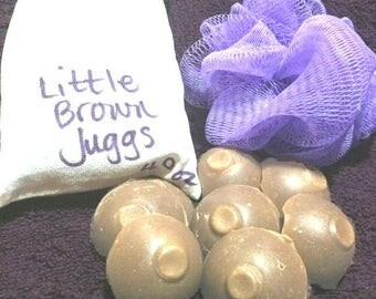 Lil' Brown Juggs boobie-shaped handmade mini soaps - great silly gift or stocking stuffer!