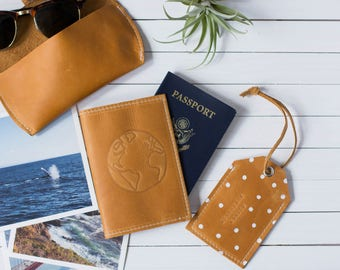 Personalized Globe Embossed Design Leather Passport Cover, Passport Cover, Graduation Gift, Wedding Gift   The Earhart