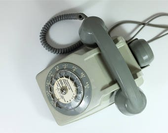 Vintage 1960s French PTT grey Rotary Telephone with an earphone - Retro grey rotary telephone - Vintage grey phone - Grey PTT phone