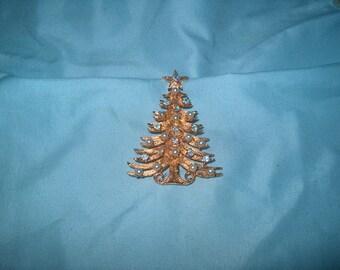 Vintage Costume Jewelry Christmas Tree Pin, Pearls & Rhinestones, Signed Mylu