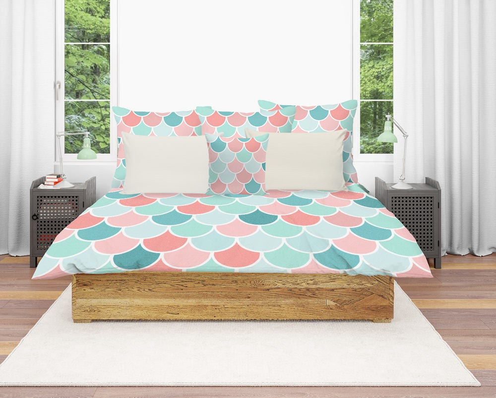 mermaid bedding duvet cover coral teal aqua mint comforter. Black Bedroom Furniture Sets. Home Design Ideas