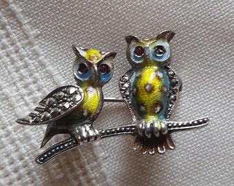 Alice Caveness, owl pin, Sterling silver,enamel,marcasite