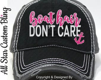 Boat Hair Don't Care Hat, Distressed Boat Hair Don't Care Hat