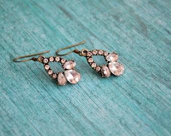 Vintage earrings, Rhinestone earrings, Wedding earrings, Bridal earrings, Gift under 15 dollar, Gift idea, Bridesmaid earrings, Earrings
