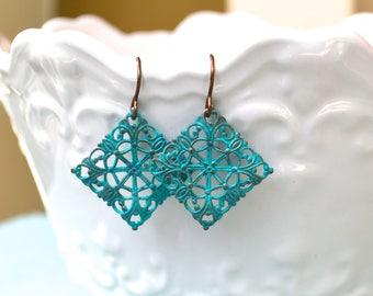 Vintage Earrings, Filigree Earrings, Verdigris Vintage Earrings, Gift For Her, Gift Under 20 Dollar, Elegant Earrings, Romantic Jewelry