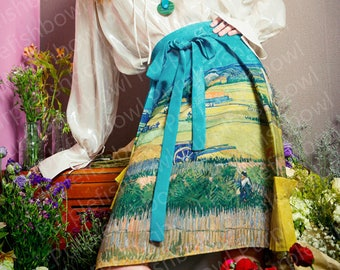 Last piece limited edition: FineArt Collection Van Gogh painting art skirt/outwear/pants