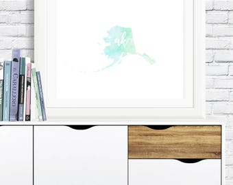 Alaska State Watercolor - digital download, blue and green, room decor, clean and simple, minimalist art, usa state outline, state artwork
