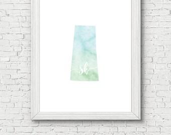 Saskatchewan Province Printable - digital download, dorm decor, clean and simple, watercolor, minimalist art, canada outline