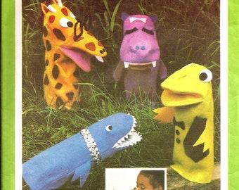 1970s Felt Hand Puppet Vintage Pattern / Simplicity 8365 / Frog Hippo Giraffe Shark Puppet / UNCUT