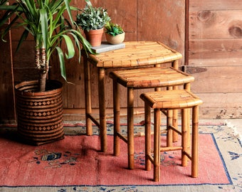 3 Vintage Bamboo Side Tables, Nesting Tables, Rattan End Table, Bamboo  Furniture,