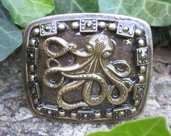 octopus belt buckle mens belt buckle Rustic  distressed ornate octopus bohemian women's antique brass beach lovers accessories  belt  buckle