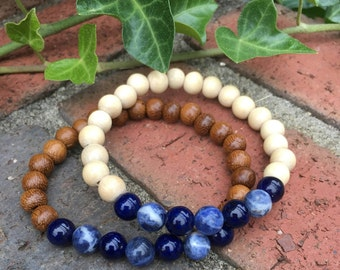 mens bracelet mens beaded bracelet Robles wood blue sodalite stone mens bracelet women's bracelet stretch bracelet wooden mala river stone
