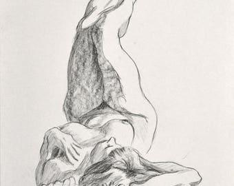 Original Charcoal Figure Drawing
