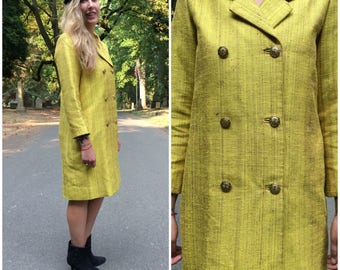 Vintage Midi Coat / 1960s Women's Long Double Breasted Medium Yellow Ochre Coat M