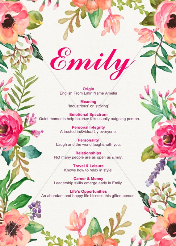 EMILY Girl Name Meaning Watercolor Flowers 5x7 Digital Poster Print