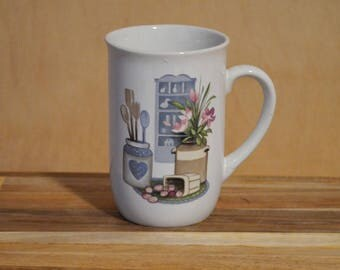 Vintage Coffee Cup, Tea Cup, Mug, Country Kitchen, Korea