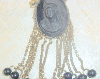 Rare B. Blumenthal Black Glass Cameo Brooch With Tassels - Mourning