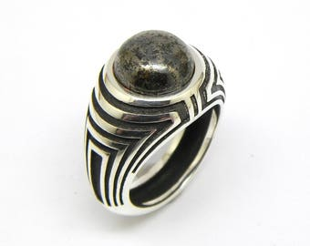 Mens sterling silver 925-12mm cabochon large signet ring.Choose between onyx,pyrite or aventurine cabochon.Free shipping