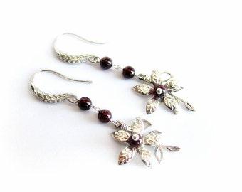 Red garnet earrings, flower dangle earrings, red stone silver earrings, floral earrings, garnet jewelry, gift for her, red silver