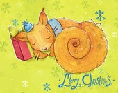 Sleeps 'Till Christmas - 2017 A6 Christmas Card - featuring squirrels and snowflakes