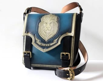 Warcraft inspired Leather Messenger bag-Alliance-WOW-Geekery-tooled leather purse-GEEK leather bag