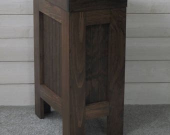 Wood Trash Can, Kitchen Garbage Can, Wood Trash Bin, Rustic Trash Bin, Wooden trash Bin, Wooden Trash Can, 13 Gallon, Walnut Stain