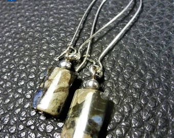 Very Unusual Natural Llanite Plated Silver Earrings