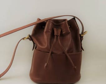 Vintage Authentic Coach Brown Leather Bucket Drawstring Bag