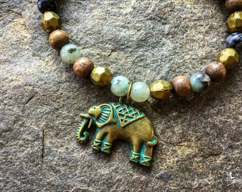 Elephant bracelet mala boho Yoga jewelry Intention handmade by Creations Mariposa