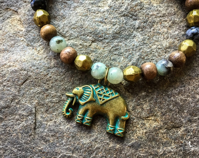 Elephant bracelet mala boho Yoga jewelry Intention handmade by Creations Mariposa