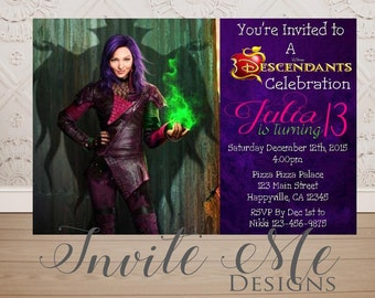 Descendants Mal Birthday Invitation, Mal Birthday Party Invitation, Descendants 2 Party Invitation, Digital File