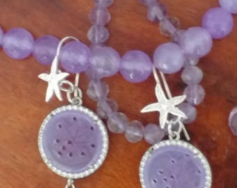 Silver Pendant earrings with starlet and jade disc carved wisteria