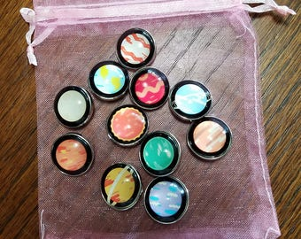 18mm Snap Button Charms - Planets