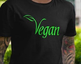 Vegan Leaf T-Shirt Ladies Mens Unique Design Vegetarian Food Foodie Healthy Animal Love Gift Black Green