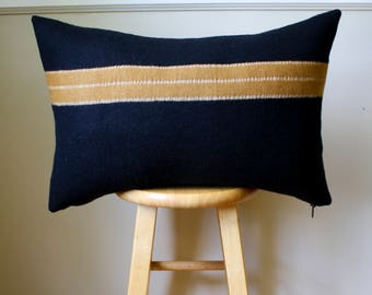 Black and Gold Stripe Wool  Pillow Cover - 16x24